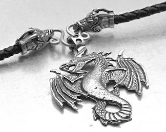 Air Dragon Necklace, Pendragon Necklace, Dragon Bolo Necklace, Dragon Necklace, Fire Breathing Dragon Necklace, Gothic Dragon Necklace
