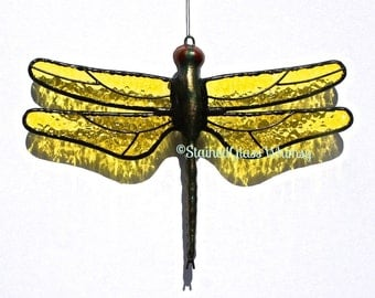 Stained Glass DRAGONFLY Suncatcher, Lemon Yellow Wings & Hand-Cast Metal Body, Textured, USA Made, Yellow Dragonfly, Yellow Wings, Firefly