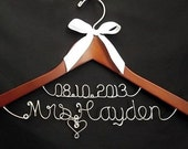 Personalized new Last name & wedding date hanger, Personalized Wedding Gift, Personalized Bridal Shower Gift, Treasured Memories Hanger