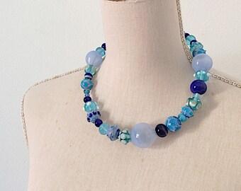 Statement handblown blue glass necklace