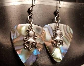 Octopus shell guitar pick earrings
