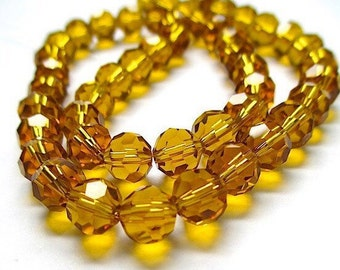 8mm Topaz Glass Beads. Faceted Round Beads. Amber Glass Crystals. 8 mm Beads. DIY Jewelry Making. Fall Autumn Color - 25 Pieces