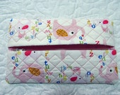 Pink Elephant Quilted Butipod Cover Diaper Wipes Case