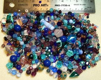 SALE - Destash - Czech Press Glass Lot - blues, pinks, purples - variety shapes and sizes - beads PG854