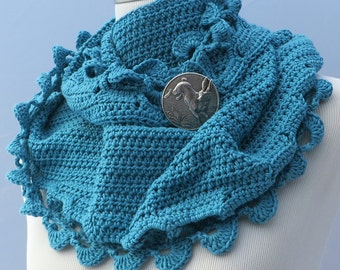 Hand crochet blue shawl cotton