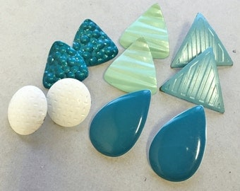 80s vintage oversized enameled metal earrings/teal mint aqua triangles rounds teardrops/textured designs waves bubbles--mixed lot of 5 pairs
