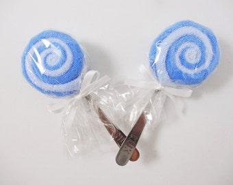 Blue Washcloth Lollipop Gift 2 Boy Lollypops