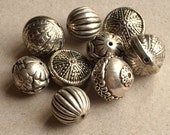 chunky recycled antiqued silver tone acrylic decorative beads--assorted lot of 9