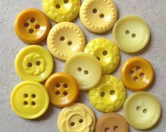 vintage eco friendly contrasting yellow buttons//lemon banana maize--mixed lot of 15