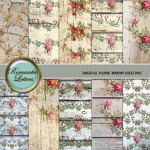 Digital scrapbook paper pack shabby chic rose background rose - Papier peint shabby chic ...