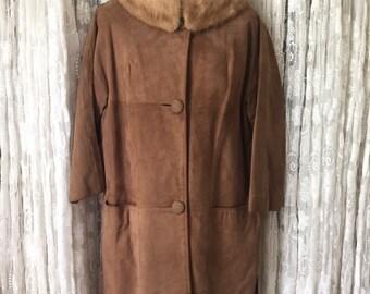 1960s Swing Coat 60's Brown Suede Coat Mink Fur Collar