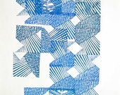 original lino cut monoprint print A3 size