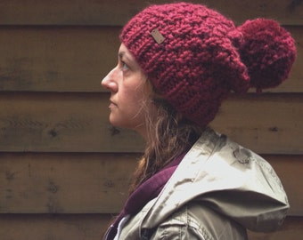 the Redwoods hat - chunky knit textured slouchy style hat in burgundy with jumbo pompom