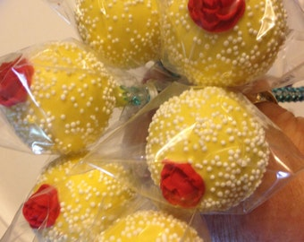 Princess  Belle 24 Cake Pops / Cake Balls or any occasion