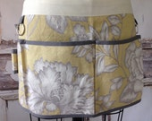 Floral Utility Apron - Buttery Yellow & Grey