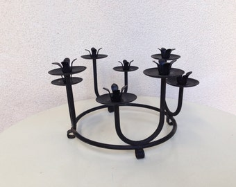 Vintage Modern black iron circle Candle stand with 8 cups