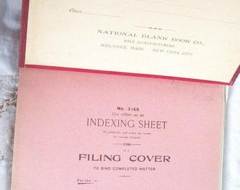 National Separate Leaf Notebook ~ Burgundy Cloth Cover ~ School ~  Vintage Est. 1930's era