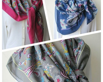 Navy blue gray damson Multicolor scarf - paisley scarf - Anatolian scarf - cotton - women's scarves -Square yemeni Turkish scarf scarves2012