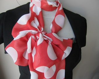 Red white polka dot scarf - skinny tie scarf-chiffon fabric infinity scarf-women's scarves-woman fashion-valentines day gifts 2016 trends