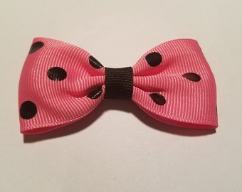 Perfectly Posh/Pink and black Polka Dot hair bow
