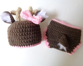 Newborn Crochet Deer Hat and Diaper Cover, Photo Prop, Baby girl, Baby boy, Knit Hat, Animal hat