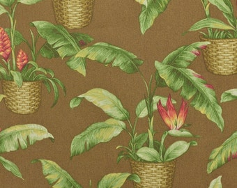 Outdoor Fabric, Tropical Fabric Remnant, Outdoor Upholstery Fabric, Baskets, Bird of Paradise, Brown and Green - 2/3 Yard - UF1727