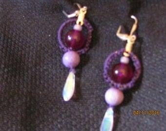 Purple Macrame Earrings