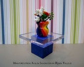 1/6th Scale Vase - in Rainbow colors with white and rainbow colored flowers for Barbie, etc.