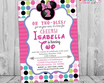 Minnie 2nd Birthday, Mouse Mouse Bowtique Invitation, Minnie 2nd Birthday Invite, Minnie Boutique, Pink Purple Green Teal Blue