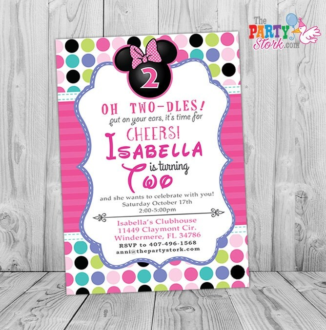 minnie 2nd birthday mouse mouse bowtique invitation minnie