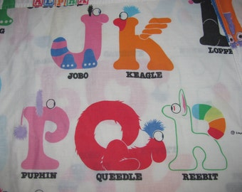 Vintage Alpha Critters Twin Fitted Sheet/Material - White with Animals Made of Letters - Alphabet, Cute Animals  - Retro Fabric