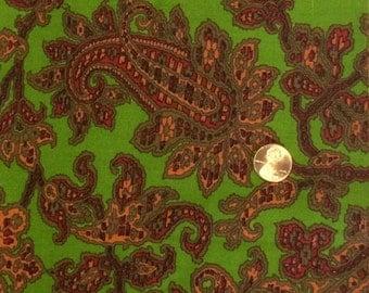 Cotton Fabric / Vintage Cotton Fabric / Paisley Fabric / Green Cotton Fabric / J Manes Co. / Fancee Free / 1 Yard