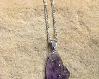 """Genuine Amethyst Stone Necklace with Silver Plate 18"""" Chain"""
