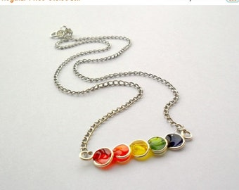 FALL SALE 20% Rainbow bar necklace, minimalist jewelry, silver tone bubble necklace, free shipping, tiny colorful cute