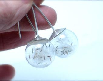 Dandelion dangle earrings, Glass and silver. Botanical. Modern Jewelry. Dandelion seeds.