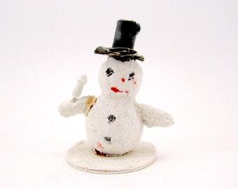 Vintage Papier Mache Snowman Christmas Decoration Glass Glitter Paper Snowman