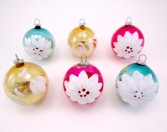 Vintage Mercury Glass Japanese Christmas Ornaments Hand Painted Blown Glass Holiday Decorations