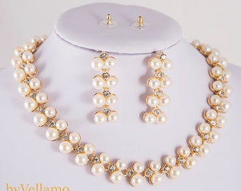 Luxury pearl bridal Jewelry Set, Gold Wedding Jewelry Sets, white pearls party jewellery sets for brides, necklace and long earrings