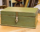 Antique Painted box, Brass fittings, Home Decor, Storage,