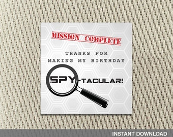 Thank You Tags - Stickers - Secret Agent Spy - Mission Impossible - Party - Happy Birthday - Instant Download - DIY Digital Decorations
