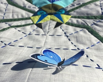 Mini quilt , wall hanging. Spider catching butterfly