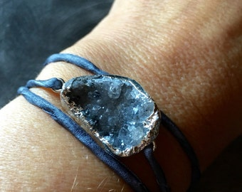 "Galaxy Druzy ""Creation"" Silk Wrap Bracelet"