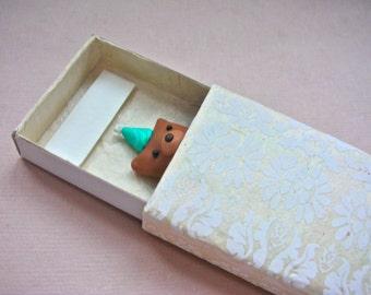 Birthday Party Bear in a Matchbox - Handmade pocket greeting gift card celebration