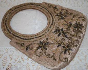 Gorgeous Beaded Bag Vintage Handbeaded Evening Bag Purse Copper Mocha Gold