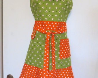Green/Orange Print Full Apron