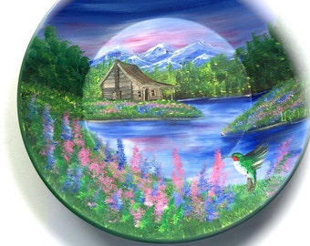 Hand Painted 11 Inch Gold Pans Mountain Spring Cabin With Hummingbird
