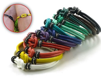 Couples Set, Couples Leather Bracelet, Couples Infinity Bracelet, Unisex Celtic Infinity Love Knot Leather Bracelets in 13 Gorgeous Colors