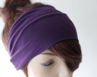 Royal Purple Turban Head Wrap / Band, Women's Wide Plum Headband, Turband, Stretch Fabric, Stretchy Yoga Headband, Hair Accessories