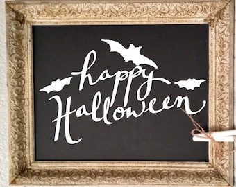 Happy Halloween with bats. Hand-Drawn Vinyl Decal.