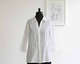 SALE/ Vintage white blouse/Half sleeve/ size 48 size 16/ crochet top/ Lacy women shirt